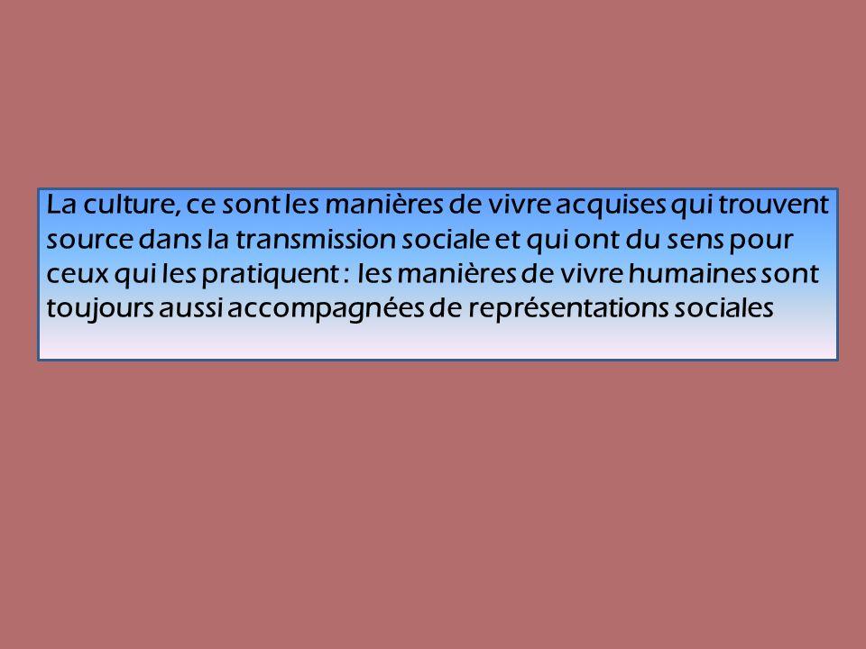 La culture, ce sont les manières de vivre acquises qui trouvent source dans la transmission sociale et qui ont du sens pour ceux qui les pratiquent : les manières de vivre humaines sont toujours aussi accompagnées de représentations sociales