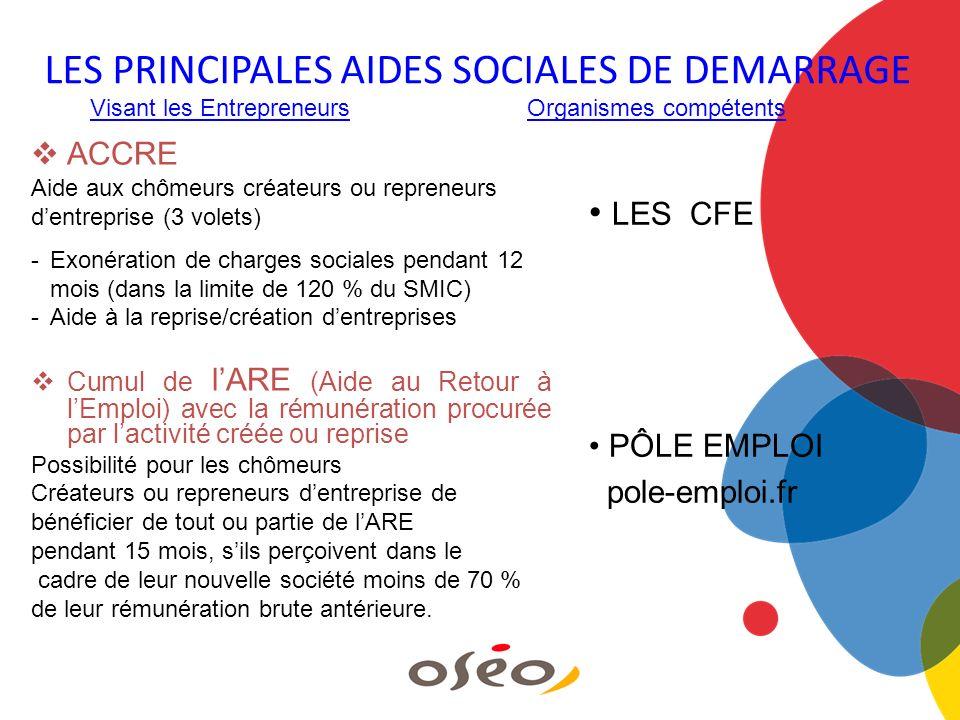 LES PRINCIPALES AIDES SOCIALES DE DEMARRAGE