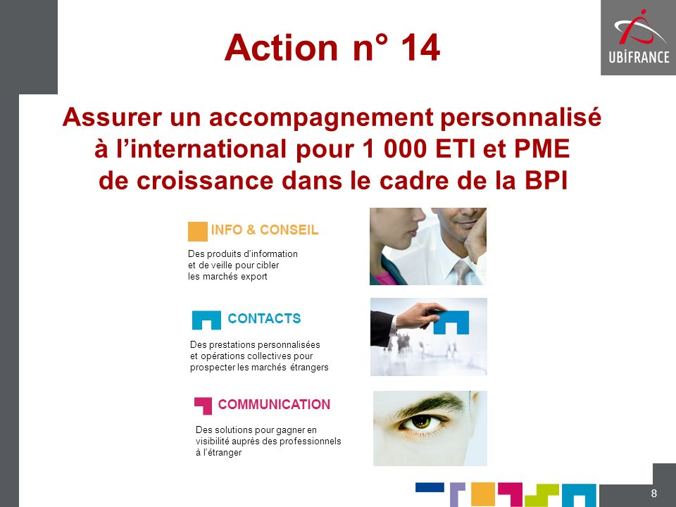 Action n° 14 Assurer un accompagnement personnalisé à l'international pour 1 000 ETI et PME de croissance dans le cadre de la BPI
