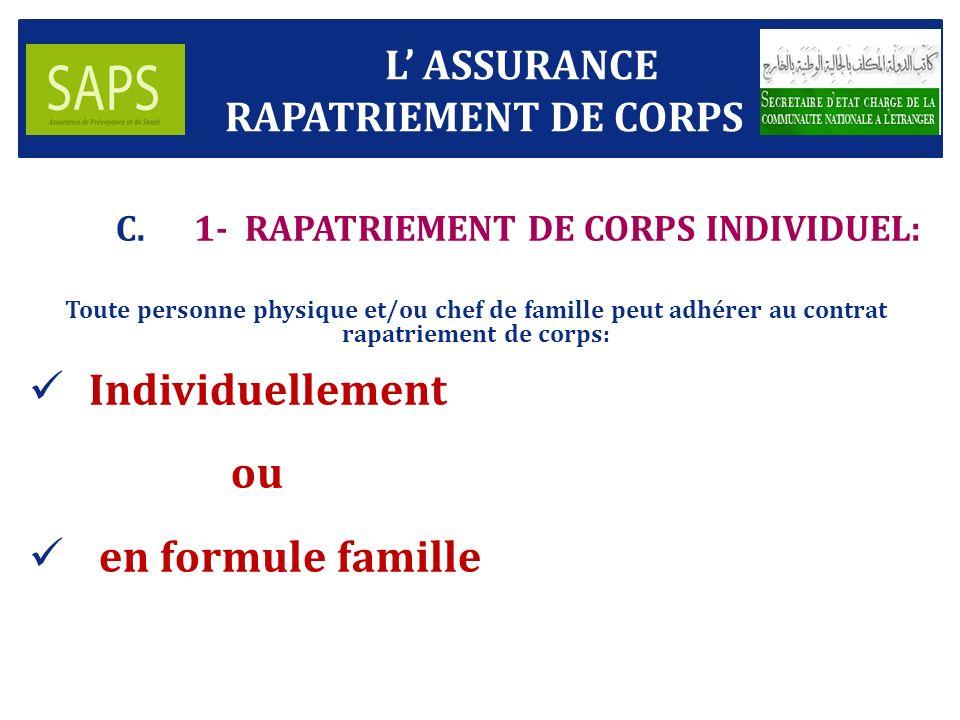 1- RAPATRIEMENT DE CORPS INDIVIDUEL:
