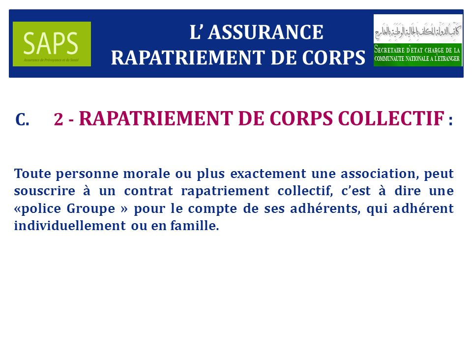 2 - RAPATRIEMENT DE CORPS COLLECTIF :