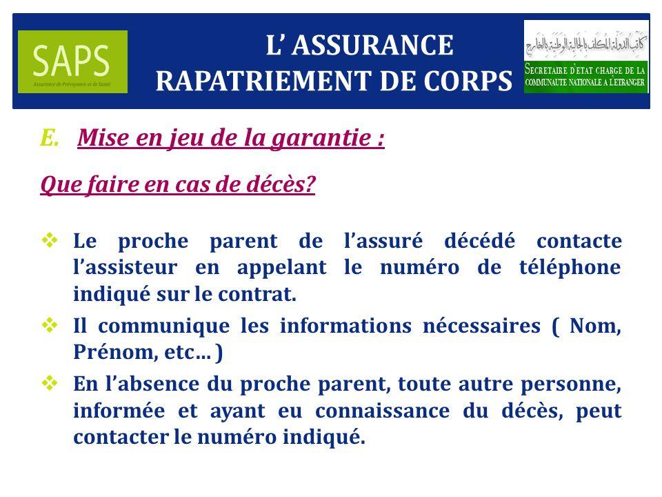 L' ASSURANCE RAPATRIEMENT DE CORPS Mise en jeu de la garantie :