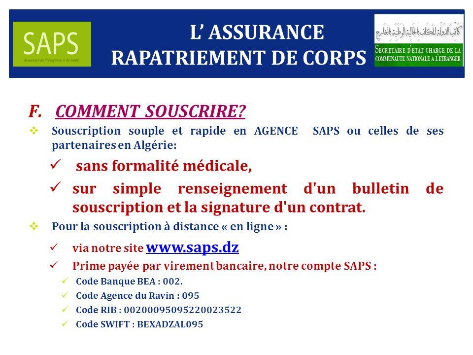 L' ASSURANCE RAPATRIEMENT DE CORPS COMMENT SOUSCRIRE
