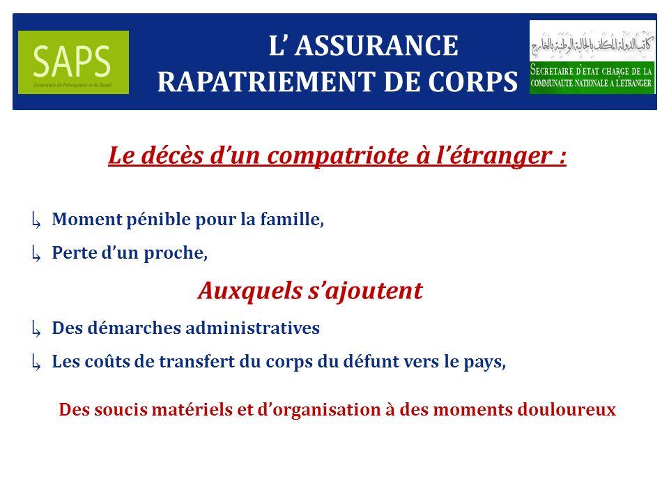 L' ASSURANCE RAPATRIEMENT DE CORPS