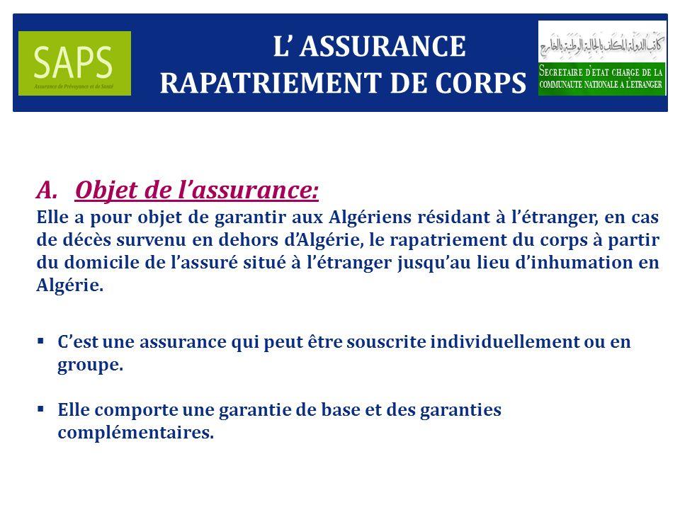 L' ASSURANCE RAPATRIEMENT DE CORPS Objet de l'assurance: