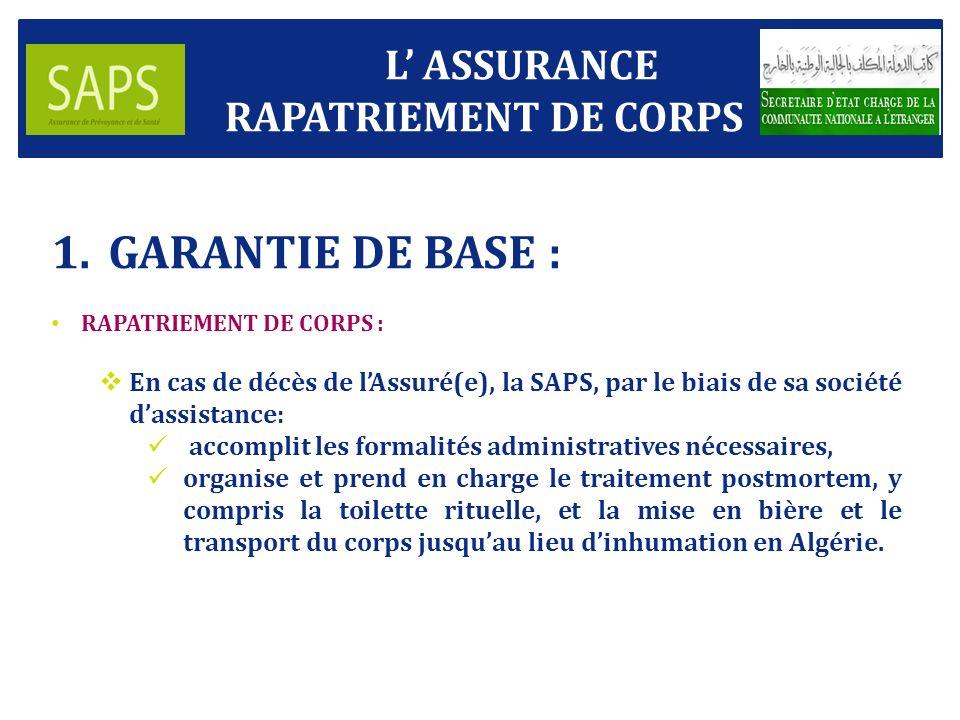GARANTIE DE BASE : L' ASSURANCE RAPATRIEMENT DE CORPS