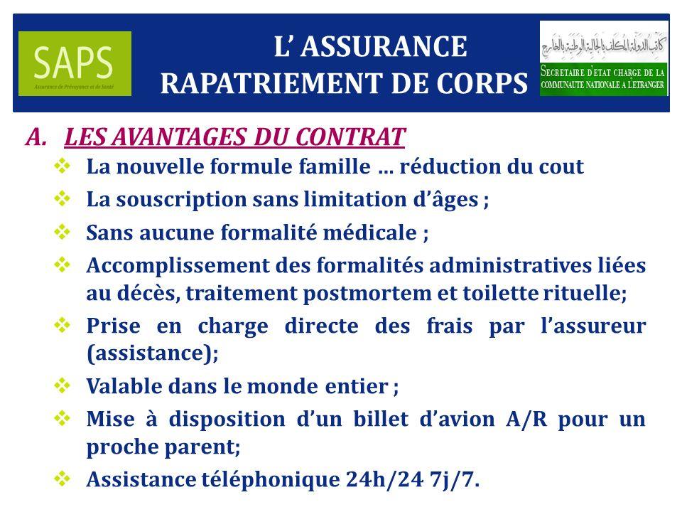 L' ASSURANCE RAPATRIEMENT DE CORPS LES AVANTAGES DU CONTRAT