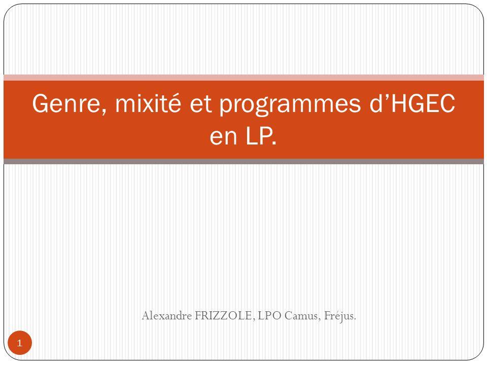 Genre, mixité et programmes d'HGEC en LP.