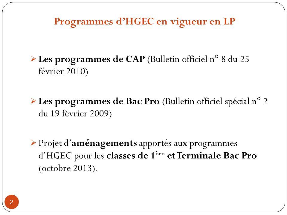 Programmes d'HGEC en vigueur en LP