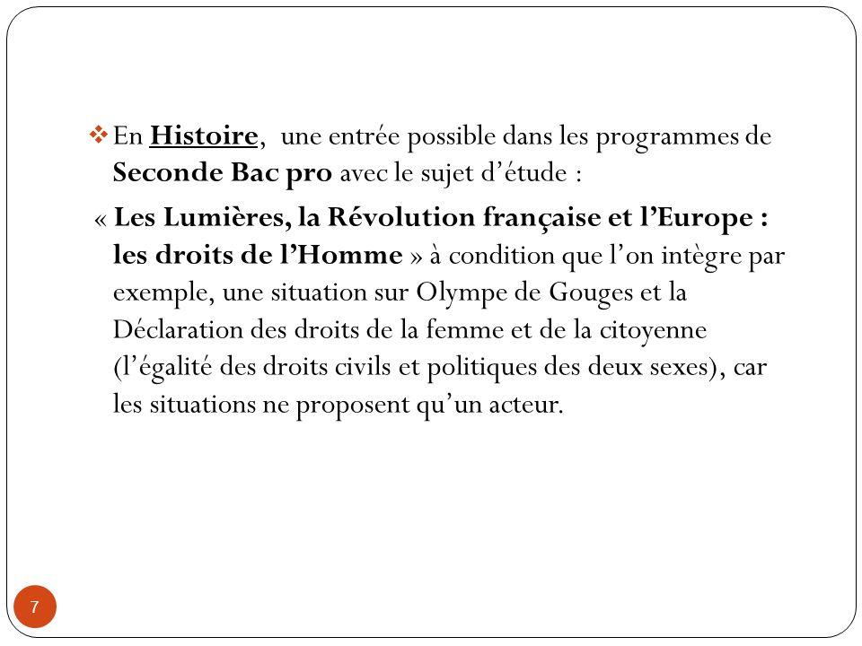 En Histoire, une entrée possible dans les programmes de Seconde Bac pro avec le sujet d'étude :