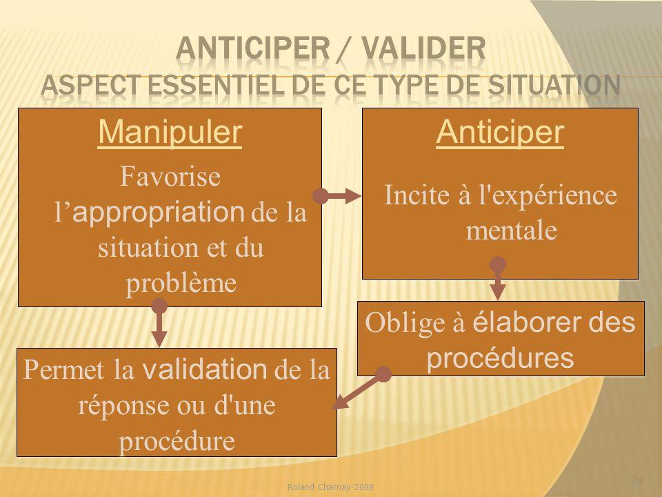 ANTICIPER / VALIDER aspect essentiel de ce type de situation