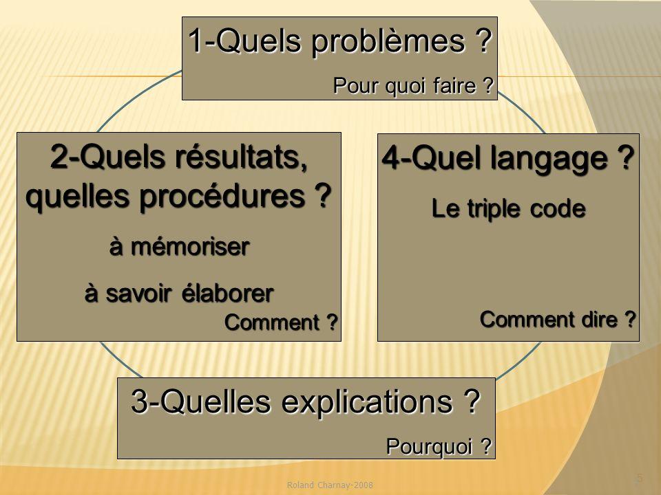 2-Quels résultats, quelles procédures 4-Quel langage