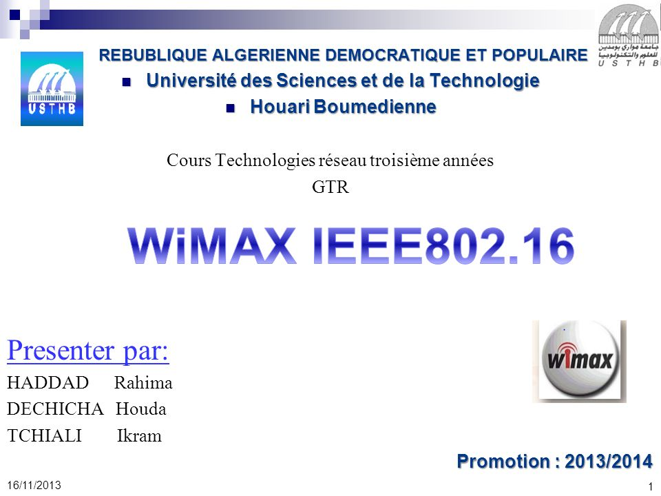 WiMAX IEEE802.16 Presenter par: