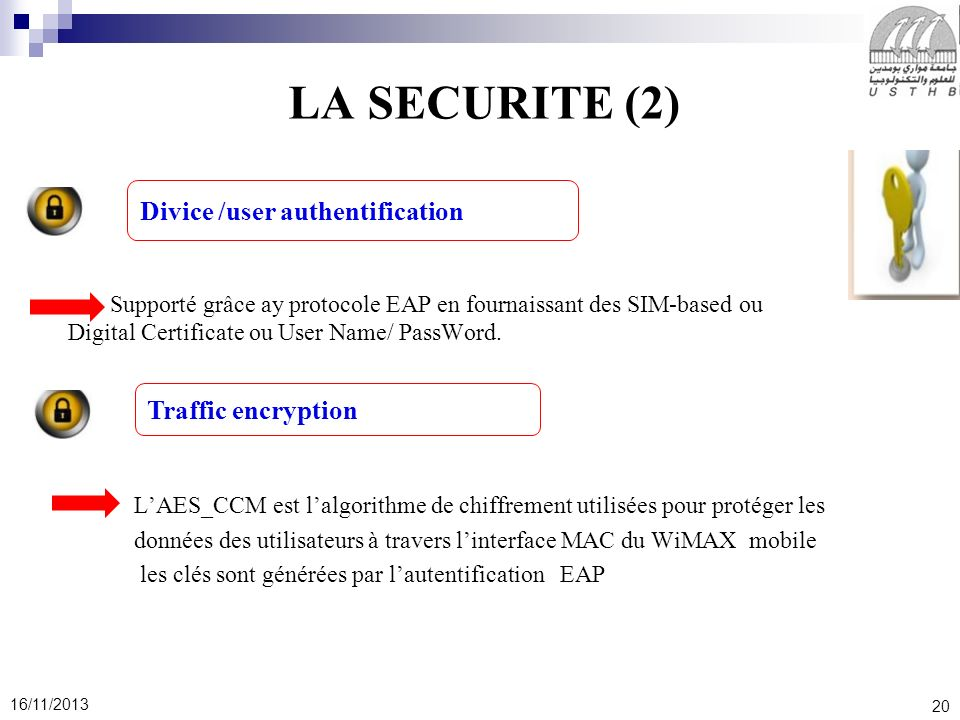 LA SECURITE (2) Divice /user authentification Traffic encryption