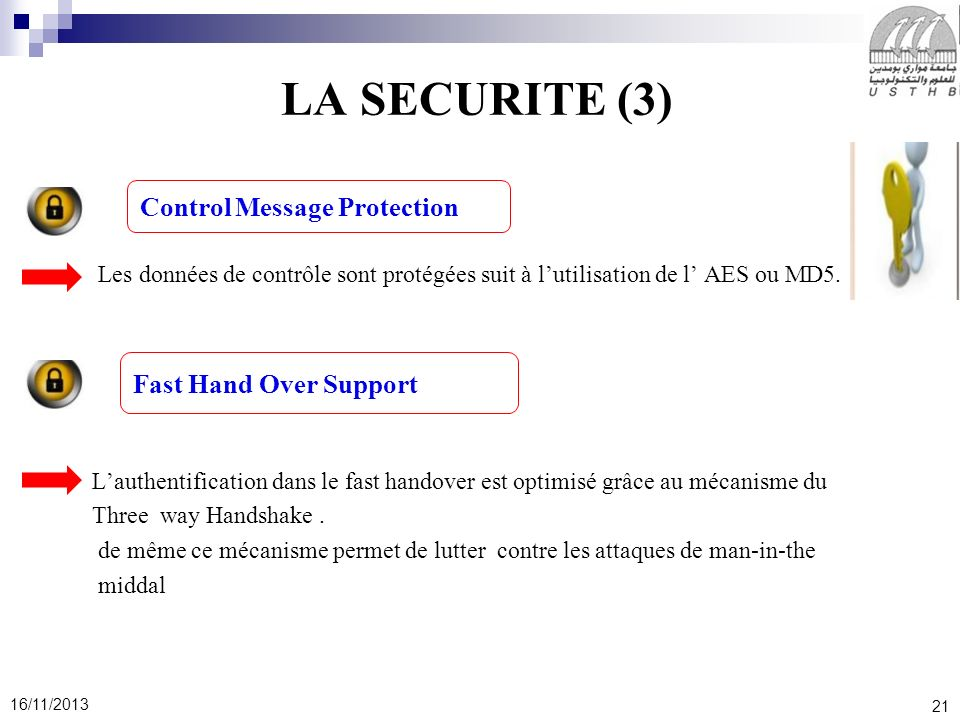 LA SECURITE (3) Control Message Protection Fast Hand Over Support