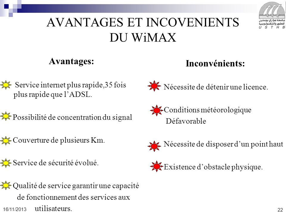 AVANTAGES ET INCOVENIENTS DU WiMAX