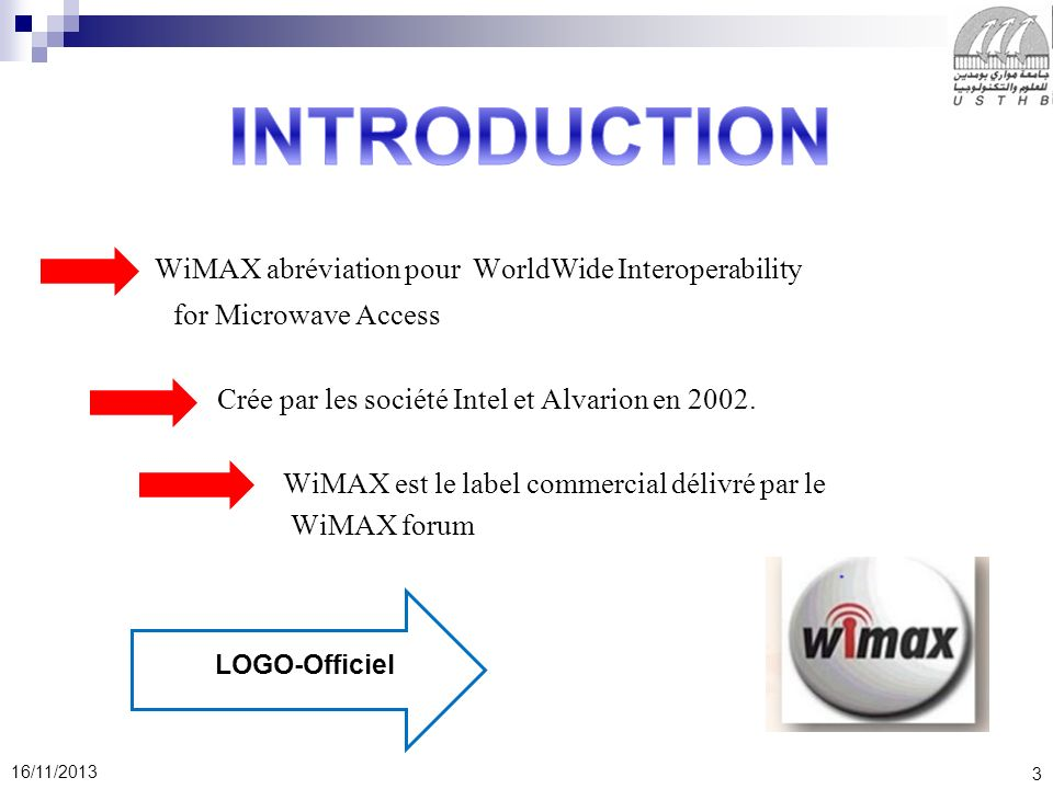 INTRODUCTION WiMAX abréviation pour WorldWide Interoperability