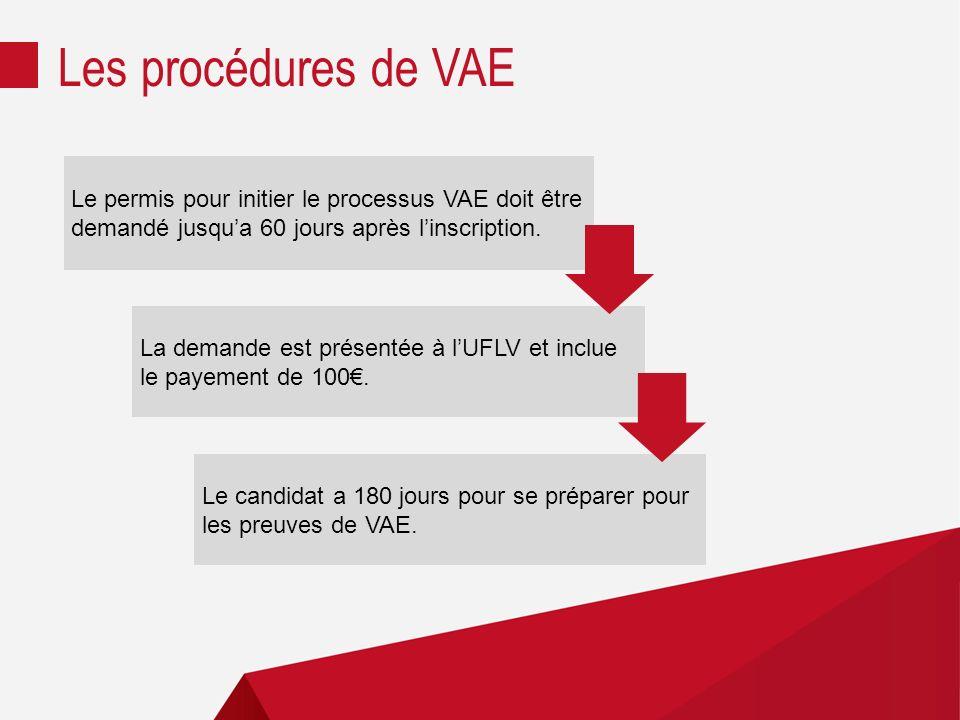 Les procédures de VAE Le permis pour initier le processus VAE doit être demandé jusqu'a 60 jours après l'inscription.