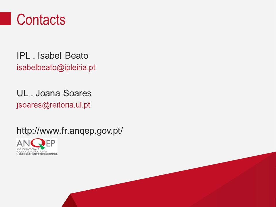 Contacts IPL . Isabel Beato UL . Joana Soares