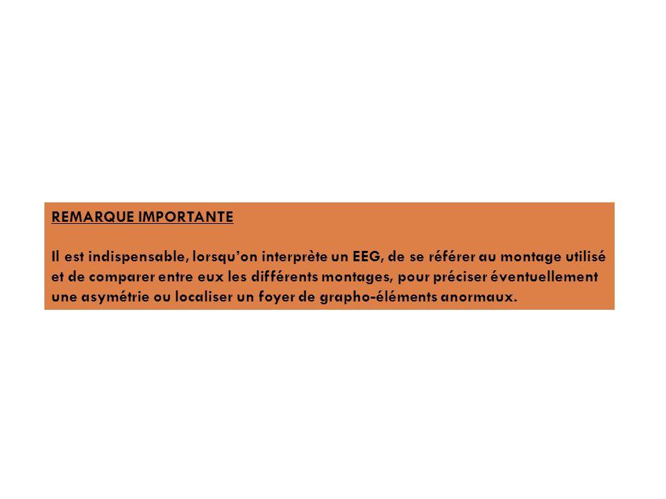 REMARQUE IMPORTANTE Il est indispensable, lorsqu'on interprète un EEG, de se référer au montage utilisé.