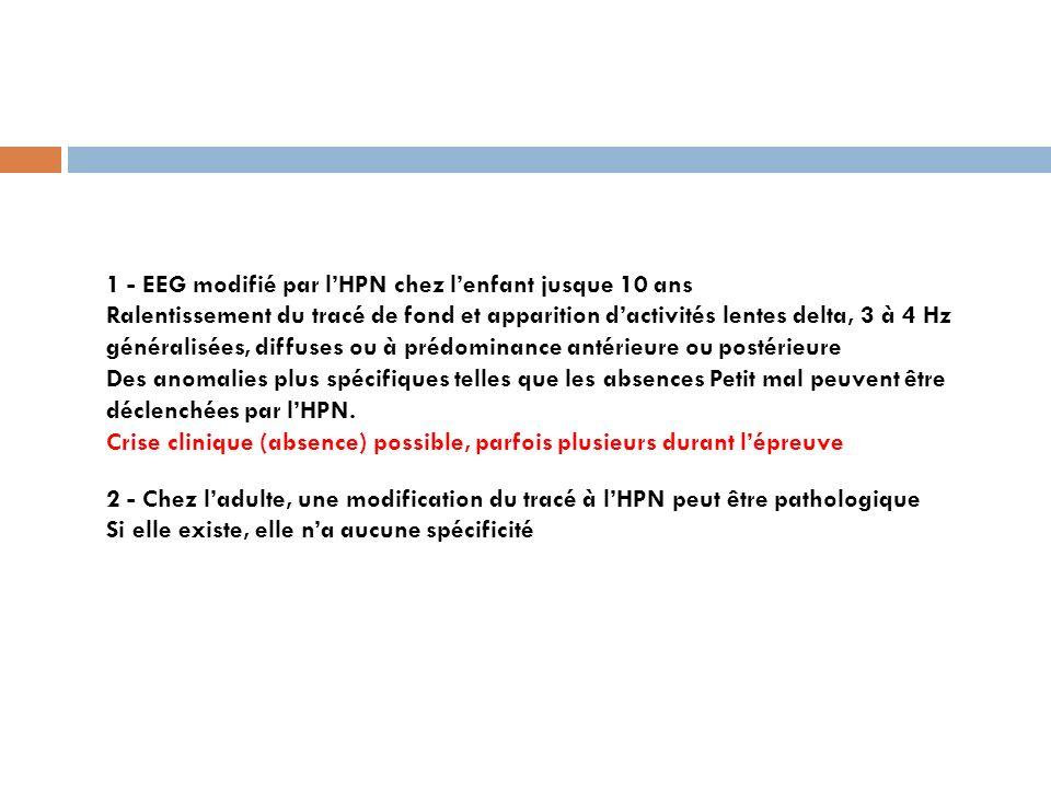 1 - EEG modifié par l'HPN chez l'enfant jusque 10 ans