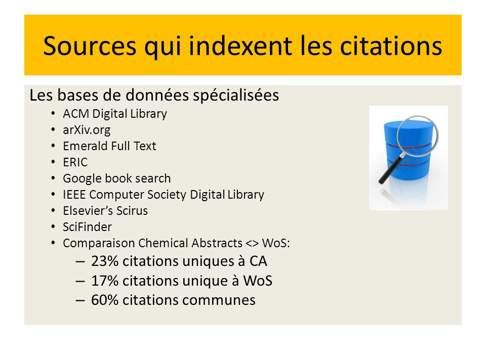 Sources qui indexent les citations