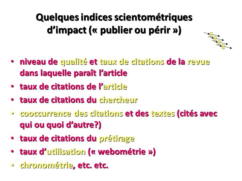 Quelques indices scientométriques d'impact (« publier ou périr »)