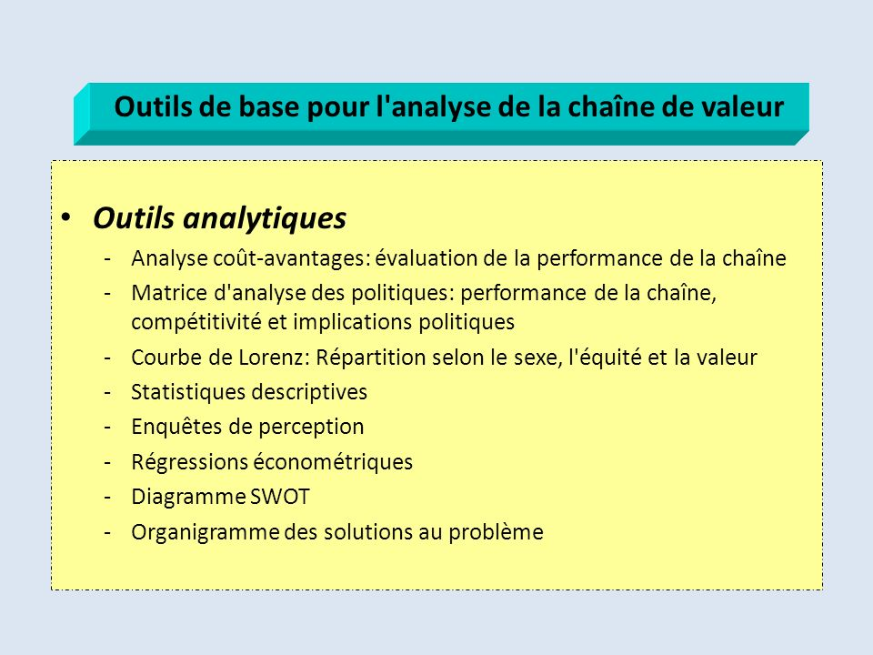 Outils de base pour l analyse de la chaîne de valeur