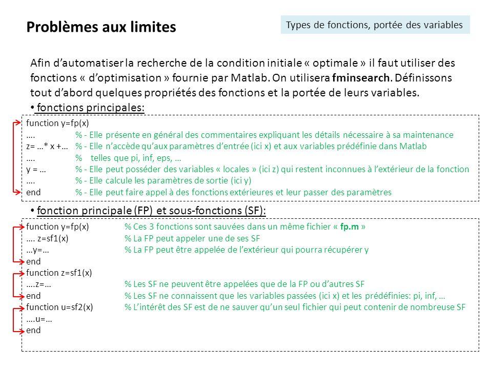 Problèmes aux limites Types de fonctions, portée des variables.