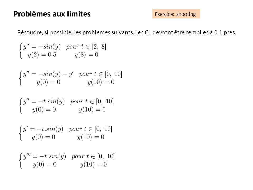 Problèmes aux limites Exercice: shooting. Résoudre, si possible, les problèmes suivants. Les CL devront être remplies à 0.1 prés.