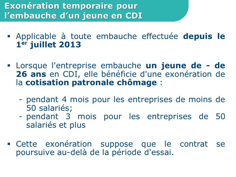 Exonération temporaire pour l'embauche d'un jeune en CDI