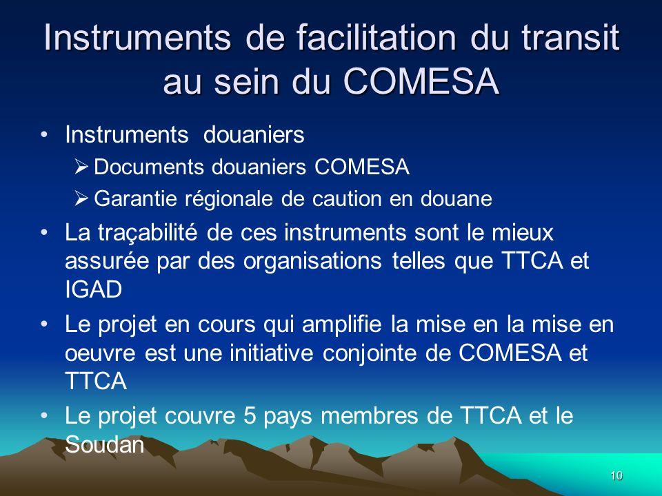 Instruments de facilitation du transit au sein du COMESA