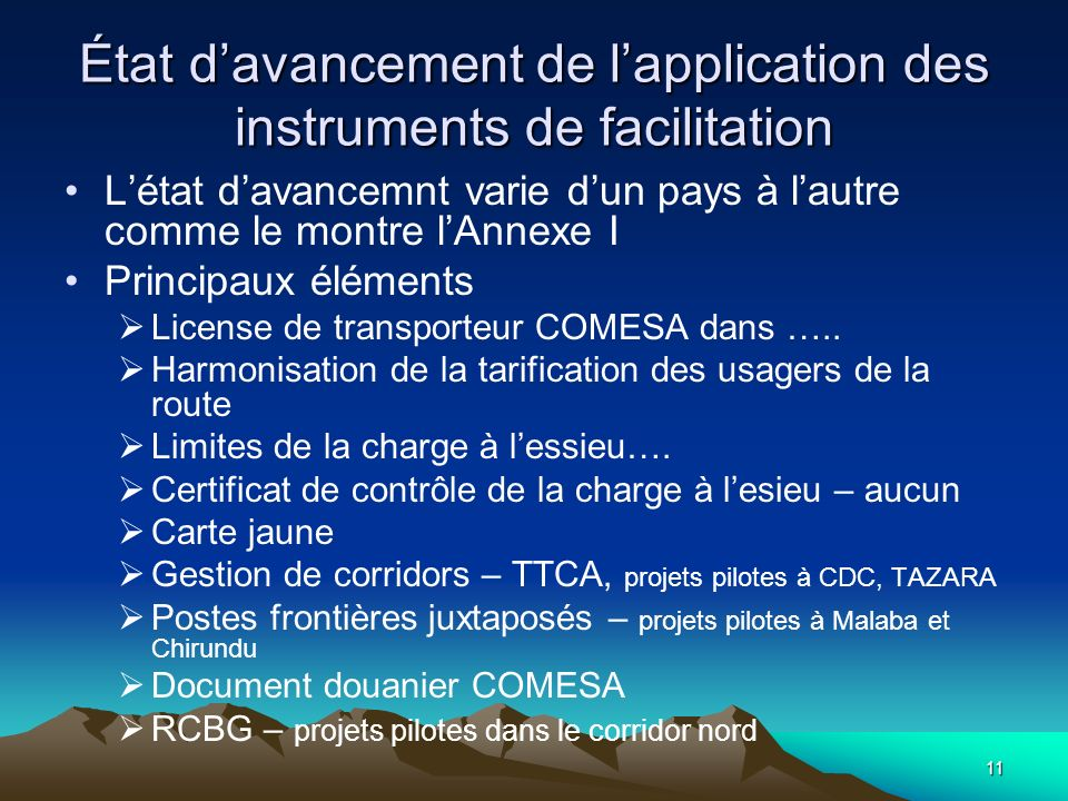 État d'avancement de l'application des instruments de facilitation