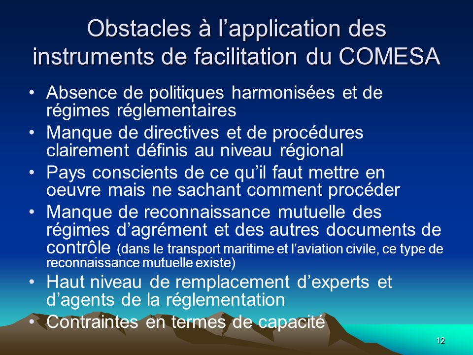 Obstacles à l'application des instruments de facilitation du COMESA