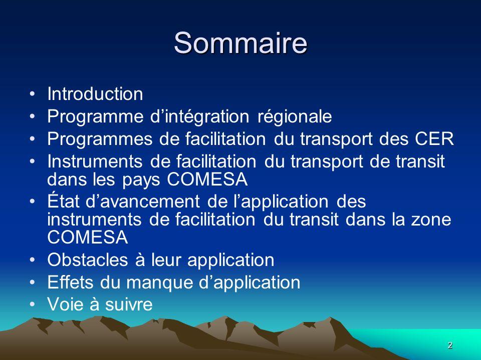 Sommaire Introduction Programme d'intégration régionale