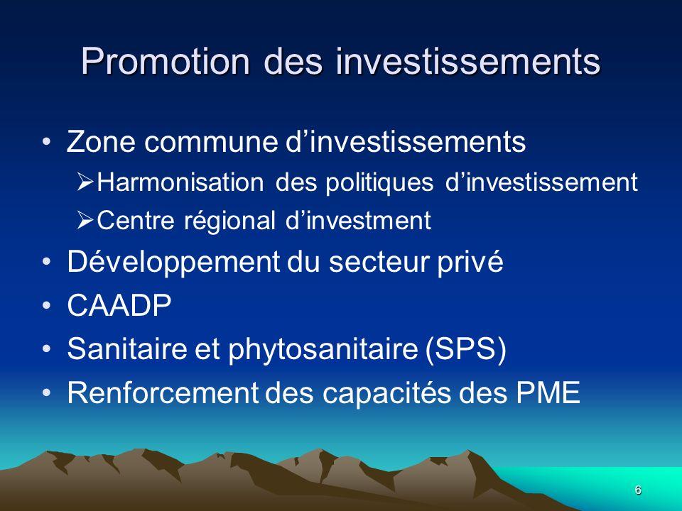 Promotion des investissements