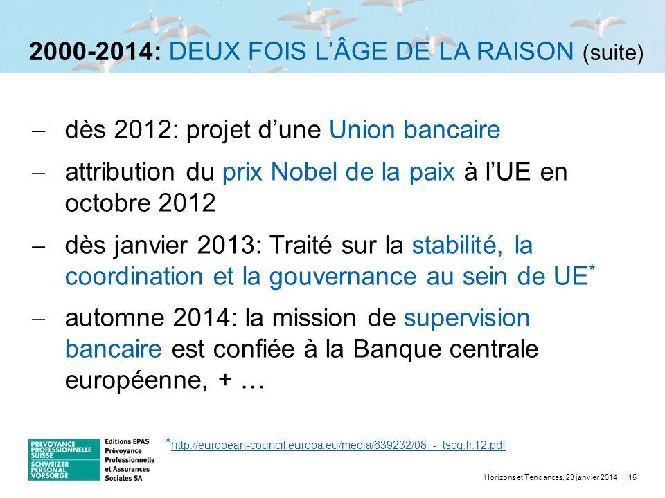 2000-2014: DEUX FOIS L'ÂGE DE LA RAISON (suite)