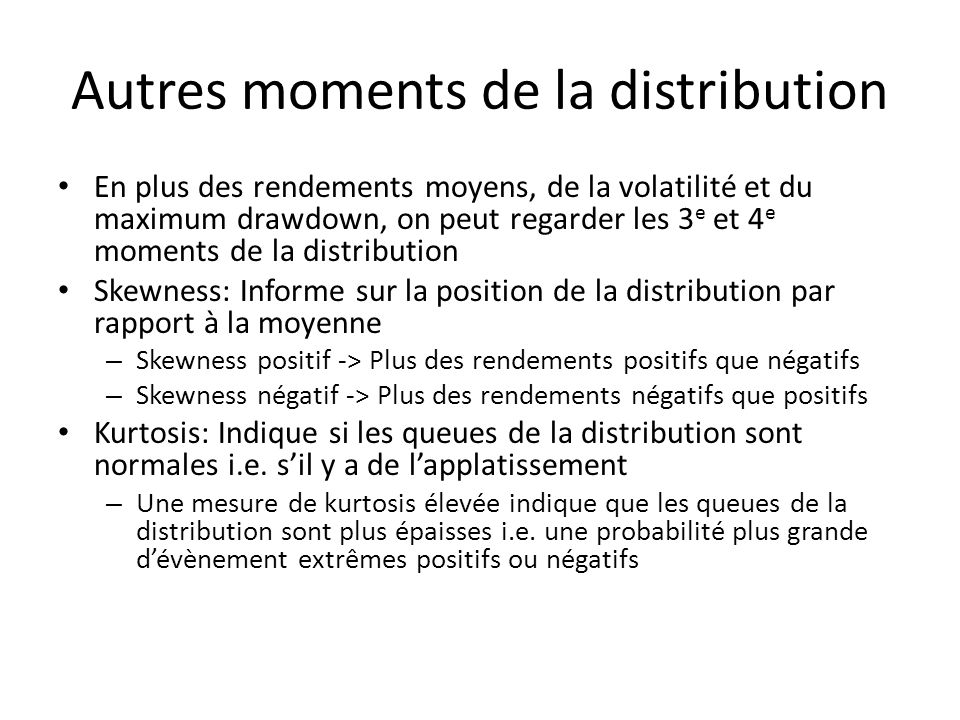 Autres moments de la distribution
