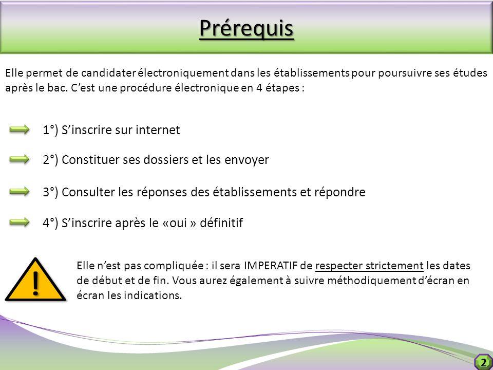 Prérequis 1°) S'inscrire sur internet