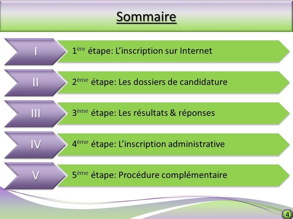 Sommaire I II III IV V 1ère étape: L'inscription sur Internet