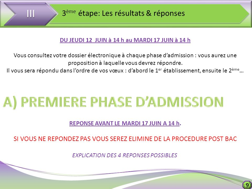 A) PREMIERE PHASE D'ADMISSION