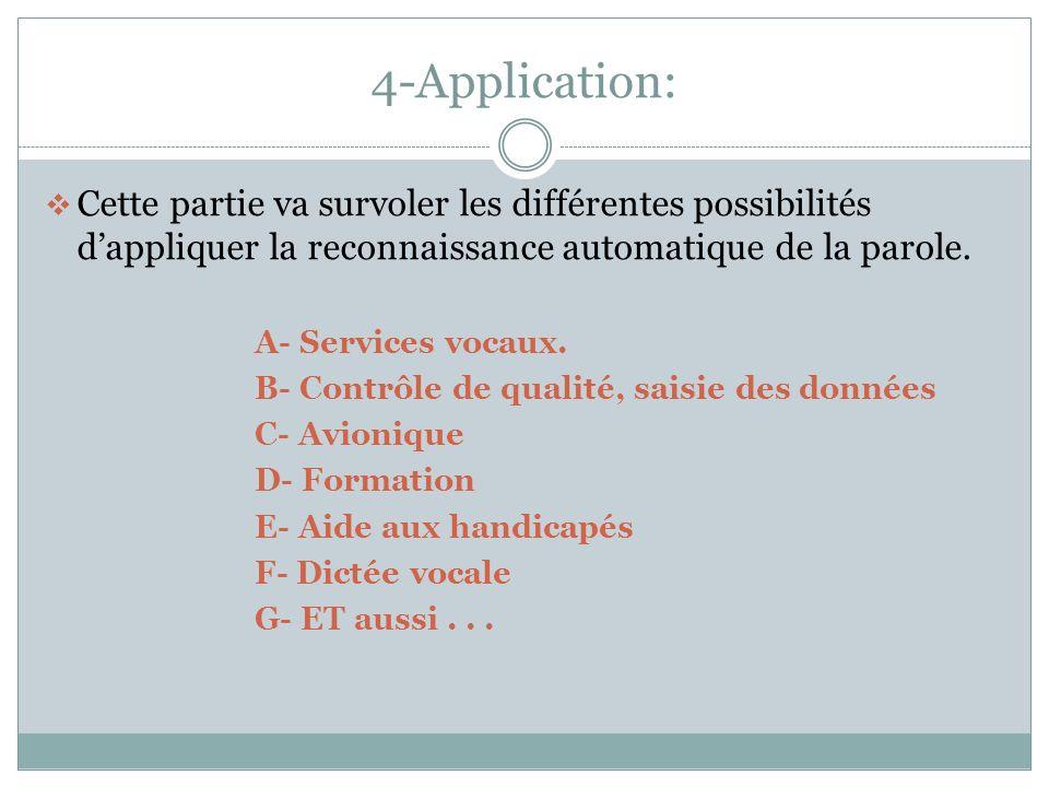 4-Application: Cette partie va survoler les différentes possibilités d'appliquer la reconnaissance automatique de la parole.
