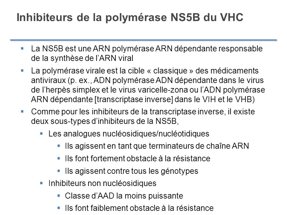 Inhibiteurs de la polymérase NS5B du VHC