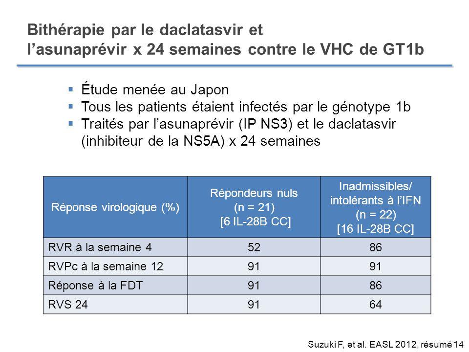 Bithérapie par le daclatasvir et l'asunaprévir x 24 semaines contre le VHC de GT1b