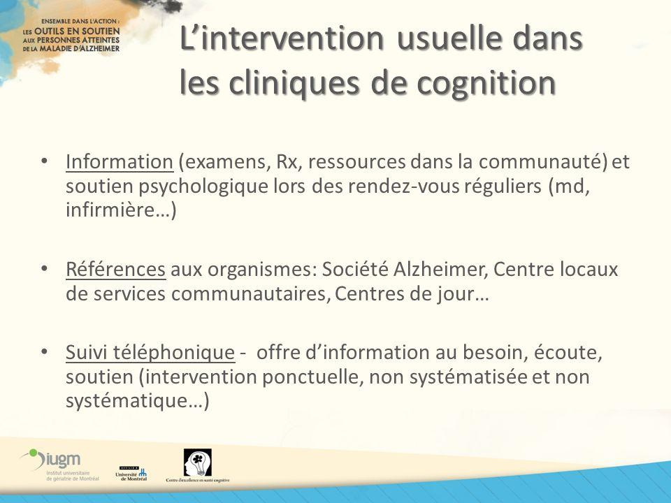 L'intervention usuelle dans les cliniques de cognition