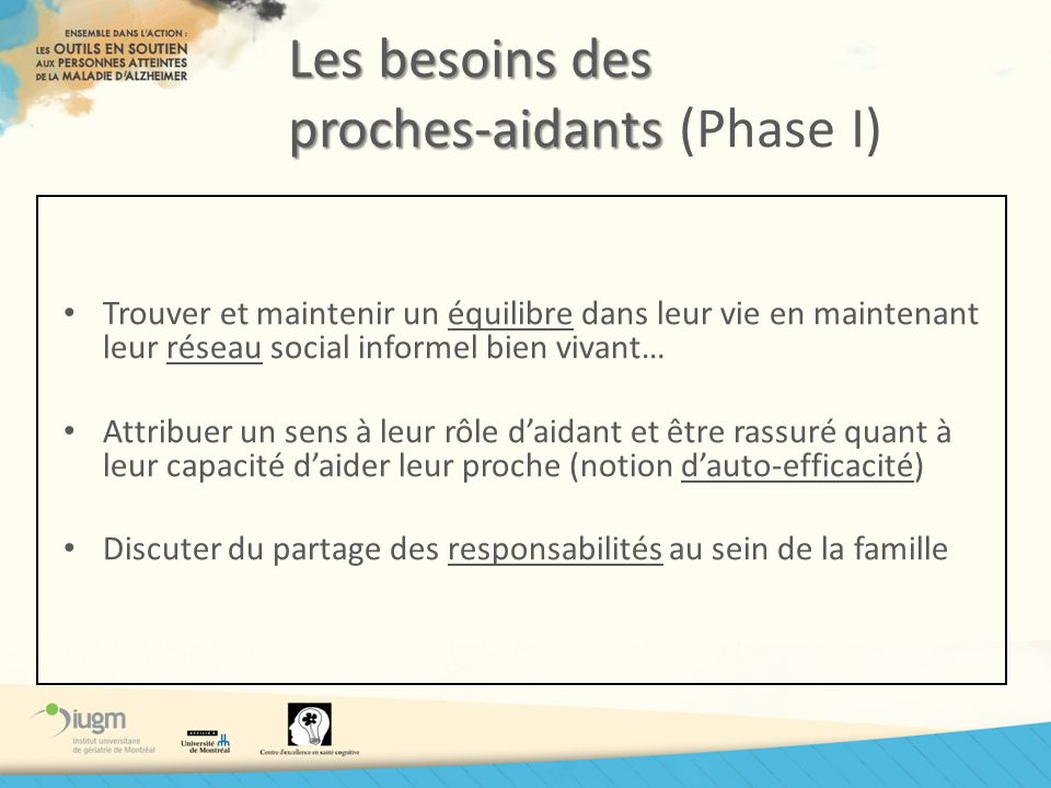 Les besoins des proches-aidants (Phase I)