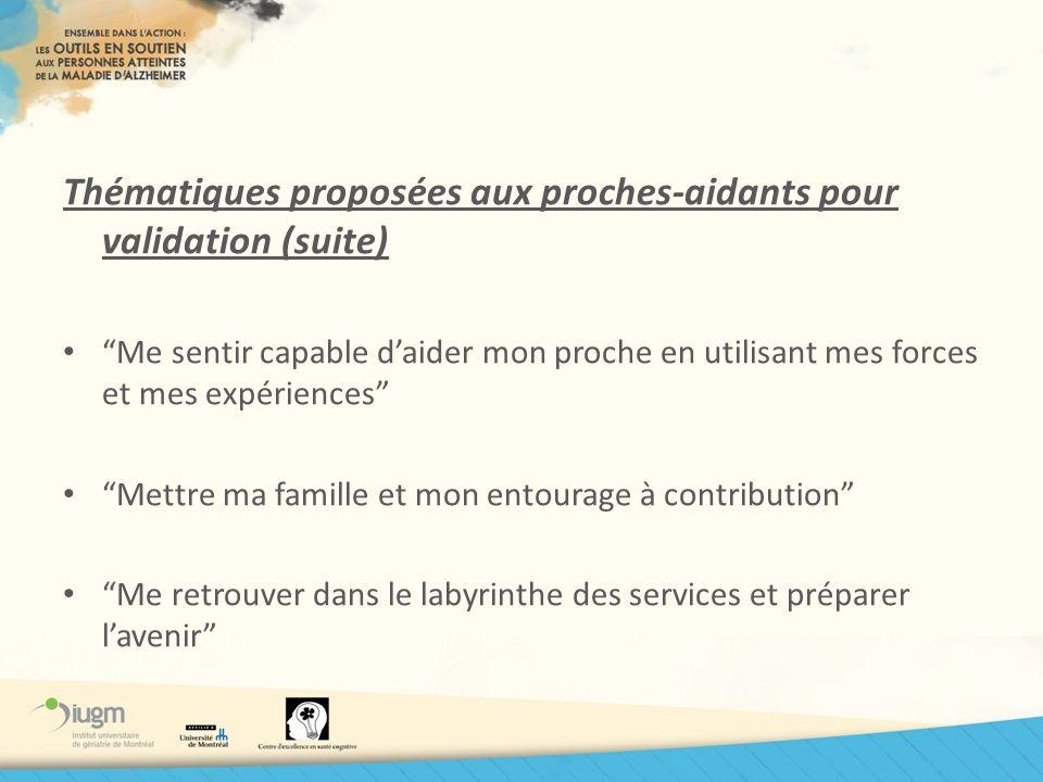 Thématiques proposées aux proches-aidants pour validation (suite)