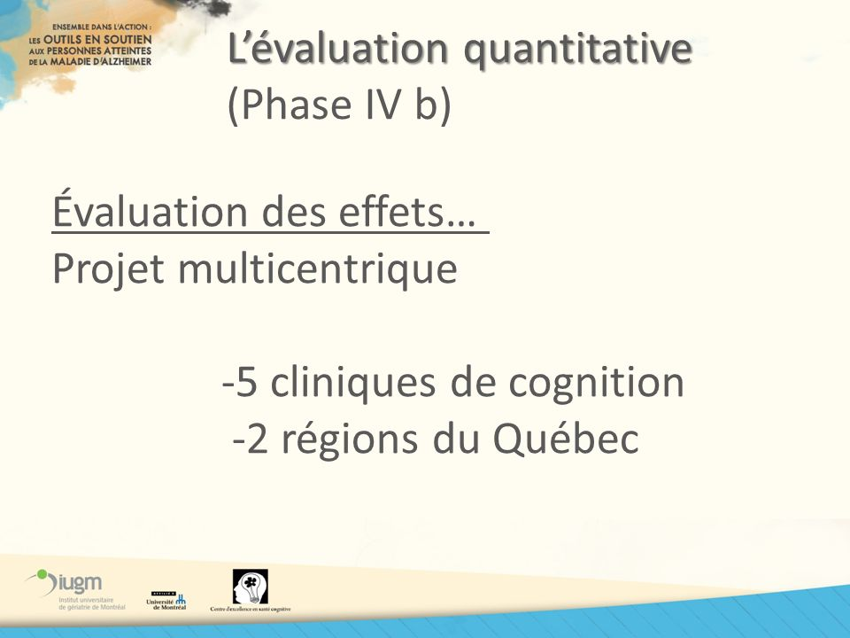 L'évaluation quantitative (Phase IV b)