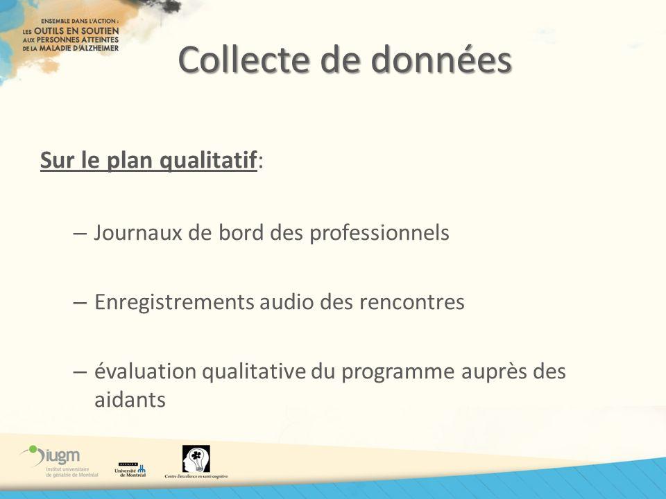 Collecte de données Sur le plan qualitatif: