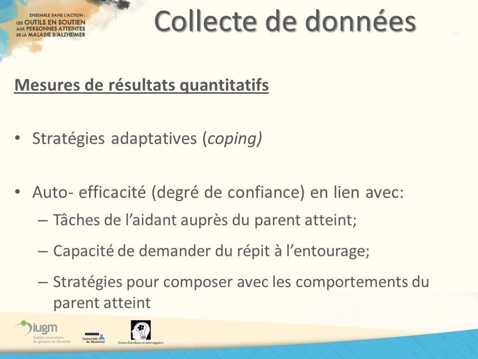 Collecte de données Mesures de résultats quantitatifs